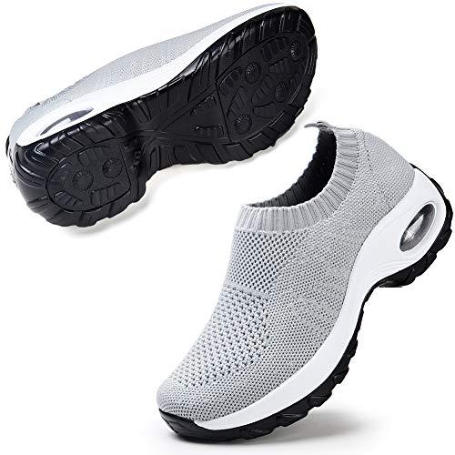 Women's Sock Sneakers Walking Shoes Mesh Slip On Air Cushion Lady Girls Modern Jazz Dance Easy Shoes Platform Loafers Grey 8