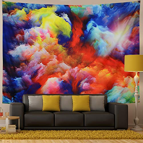 Generleo Psychedelic Tapestry Colorful Flowing Clouds Tapestry Watercolor Sky Sun Tapestry Color Splash Series Tapestry Wall Hanging for Room (Medium, Clouds) ()