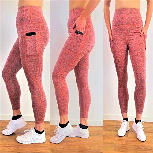 Megamox Extra Soft Women High Waist Leggings Two Pocket Leggings Tummy Control Yoga Pants 4ways Stretch Leggings