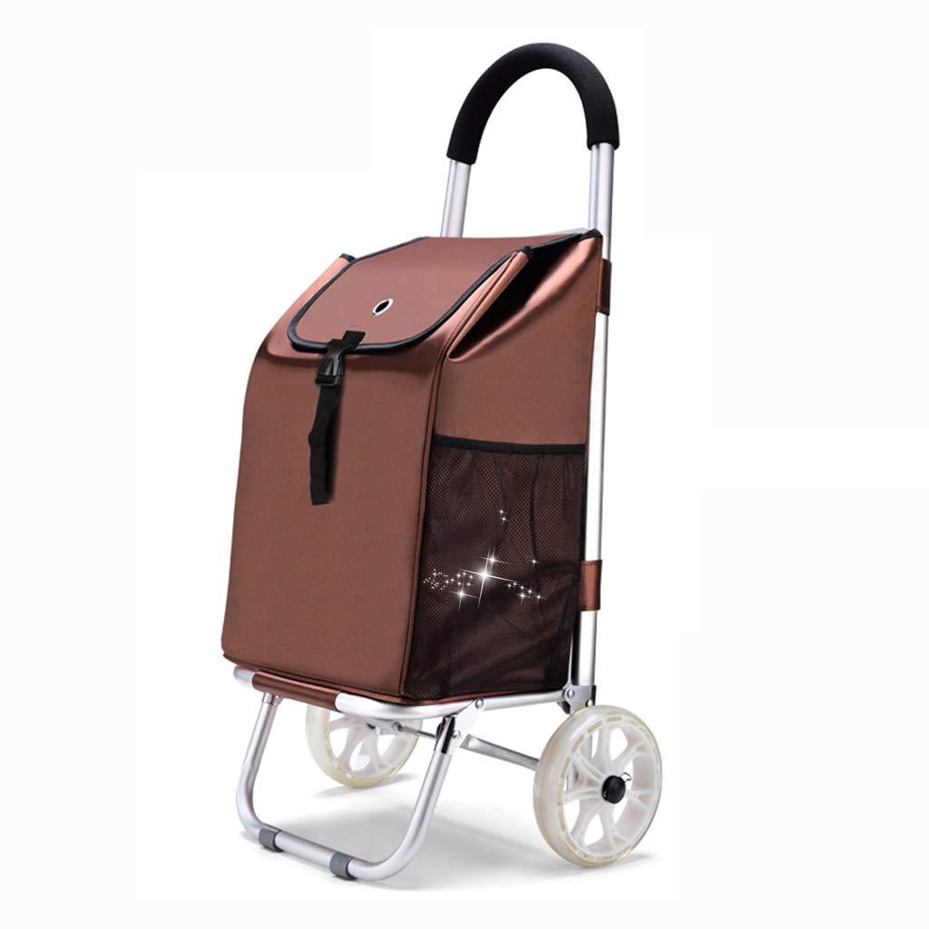 ショッピングカート パーソナライズド食料品のショッピングカート ショッピングカート 折りたたみポータブルクライミングカート 荷物用トロリーファッショントロリートレーラー (Color : Brown)  Brown B07H3XJ259