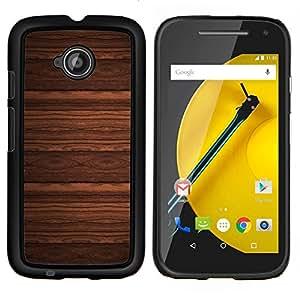 EJOOY---Cubierta de la caja de protección para la piel dura ** Motorola Moto E2 E2nd Gen ** --Diseño del papel pintado imitación madera de Brown