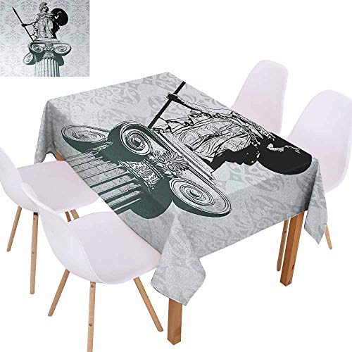 UHOO2018 Sculptures,Wrinkle Resistant Tablecloth,Statue of Athena on Baroque Background Ancient Greek Mythology,Perfect for Any Entertaining Event,Black Dust Light Turquoise,70