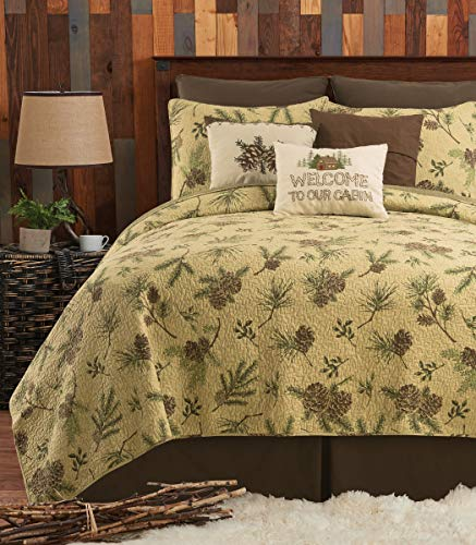 - C&F Home Woodland Retreat Pinecone Cotton Twin 2 Piece Quilt Set Twin 2 Piece Set Tan
