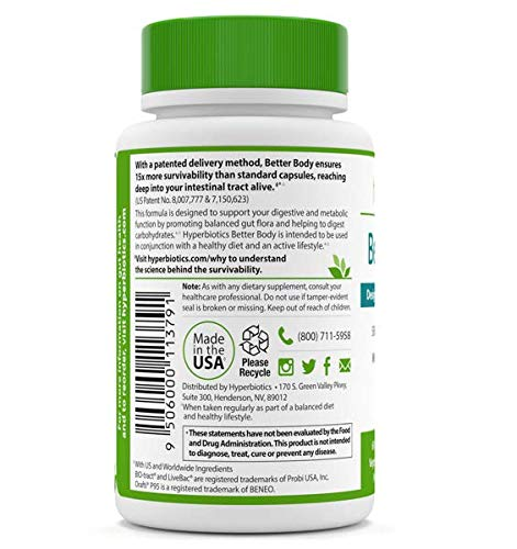 Hyperbiotics Better Body – Probiotics for Weight Loss Support – Support Your Ideal Body Weight – Reduce the Impact of Carbohydrates – 6 Targeted Probiotic Strains + White Kidney Bean Extract (Tablets)