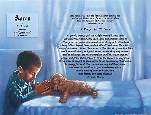 Children's Prayer Personalized Boy Keepsake Includes: Verse, Prayer, Name Personalization, Name Origin, Name Meaning. Perfect for Birthday's or Special Occasion