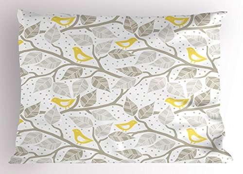(Lunarable Grey Pillow Sham, Birds on The Branch with Pastel Colored Leaves on Dotted Background Nature Art, Decorative Standard Size Printed Pillowcase, 26 X 20 Inches, Yellow Tan White)