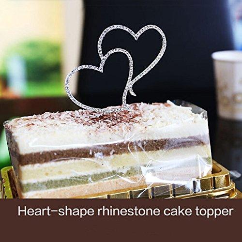Bazaar Romantic Crystal Double Heart Cake Topper Wedding Decoration Big Bazaar