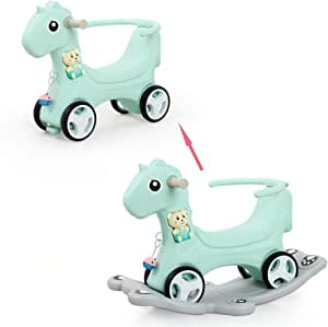 Kid's Rocking Horse and Walker 2 in 1, for 1-2-3 Years Old Baby, Plastic Thick Baby Stroller