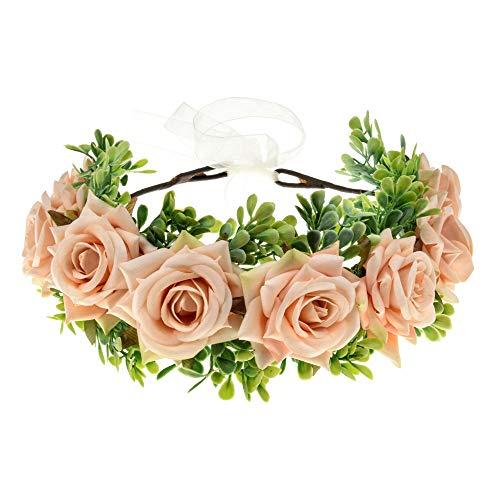 Vividsun Flower Crown Floral Headpiece Festival Wedding Hair Wreath Floral Crown (A/champagne)
