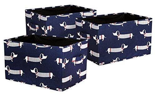 Lush Decor Sausage Dog Fabric Covered 3 Piece Collapsible Storage Box Set, 14
