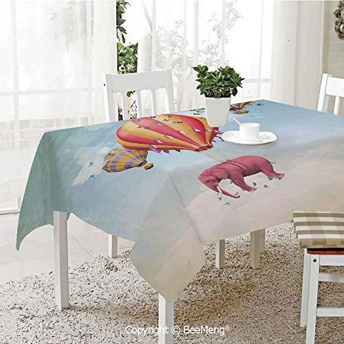 Large Family Picnic Tablecloth,Easy to Carry Outdoors,Elephants Decor,Pink Elephant in The Sky with Balloons Illustration Daydream Fairytale Travel Decorative,59 x 104 inches - Daydream Lilac