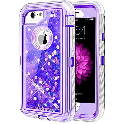 (Caka iPhone 6/6S/7/8 Case, iPhone 6S Glitter Case Protective Bling Flowing Floating Luxury Glitter Sparkle Heavy Duty Liquid Case for iPhone 6/6S/7/8 (4.7 inch) - (Love Purple))