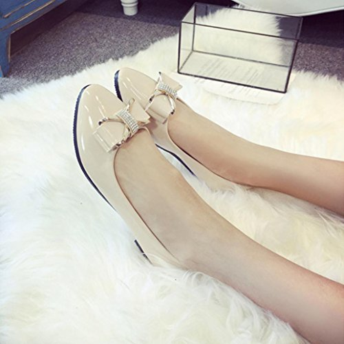 Rhinestone Beige Casual Shoes Shoes Toe Flat Womens Low Fashion Inkach Round Heel n6gSCx