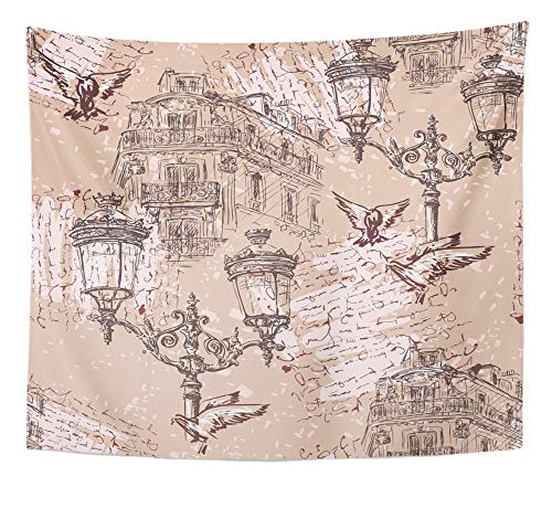 Emvency Tapestry Artwork Wall Hanging City Paris Vintage with Parisian House with Balconies Lights and Imitation Love 50x60 Inches Tapestries Mattress Tablecloth Curtain Home Decor Print for $<!--$19.90-->