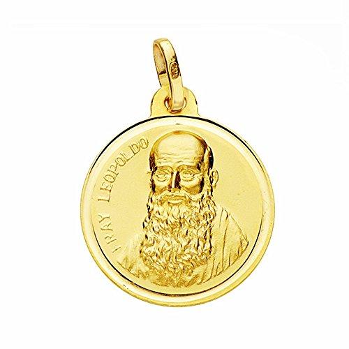 Médaille pendentif or 18k Fray Leopoldo 18mm. lunette lisse [AA2667GR] - personnalisable - ENREGISTREMENT inclus dans le prix