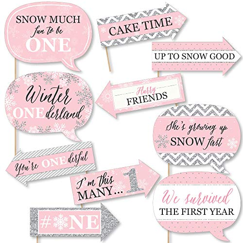 Big Dot of Happiness Funny Pink Onederland - Holiday Snowflake Winter Wonderland Birthday Party Photo Booth Props Kit - 10 Piece