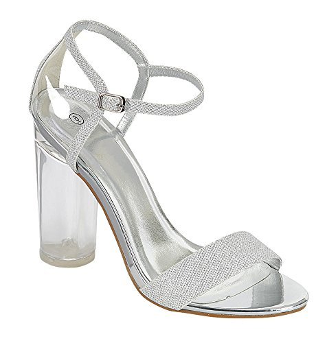 Cambridge Select Womens Open Toe Single Band Ankle Strappy Glitter Clear Lucite Round High Heel Dress Sandal Silver izCGijf