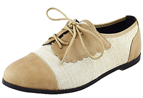 Chase amp Chloe Women#039s Two Tone Lace up Oxford Flat 9 BM US Taupe