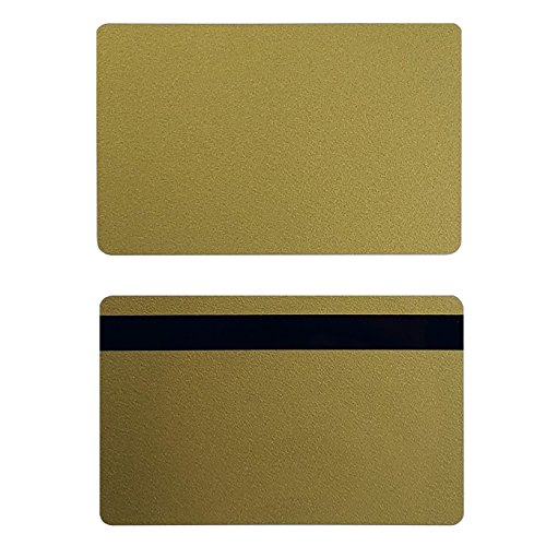 Pack of 100 Premium Graphic Quality Gold PVC w/HiCo 2 Track Cards CR80 30 Mil Standard Credit Card Size by My ID City ()