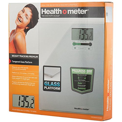 - Healthometer Digital Weight Tracking Scale, With Large Large Lighted Display, 400 Pound Capacity, Tempered Glass