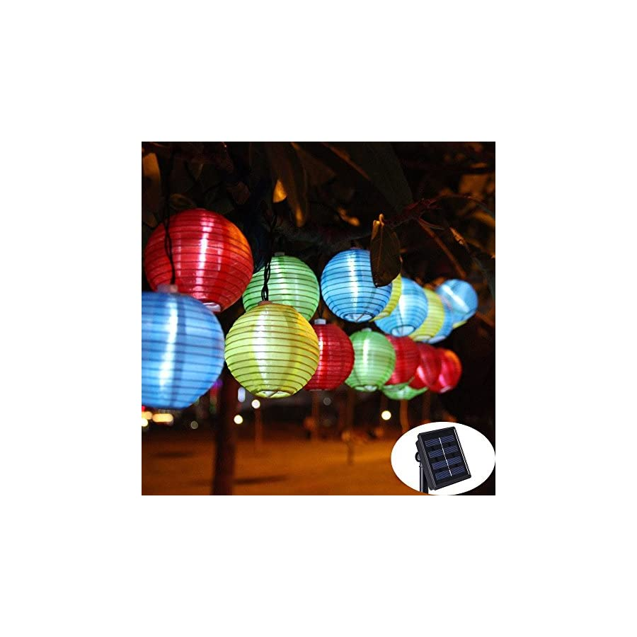 LED Solar String Lights,16ft 20LED 8MODES,KNOWHOME Fabric fairy Lantern Ball Lights, Waterproof,Christmas Lights,Ideal for Wedding, Party,Garden,Patio Lights Decoration