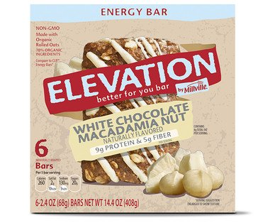 Millville Elevation Naturally Flavored White Chocolate Macadamia Nut Energy Bars – 1 Box