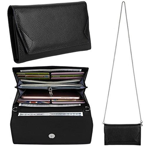 YALUXE Women's RFID Blocking Security Leather Smartphone Wristlet Crossbody Clutch Wallet Black (Wallet Purses)