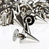 #8: RUBYCA 100 Sets 10MM Silver Color Bullet Cone Spike and Stud Metal Screw Back for DIY Leather-craft