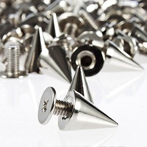 Goth Punk Spikes - RUBYCA 100 Sets 10MM Silver Color Bullet Cone Spike and Stud Metal Screw Back for DIY Leather-craft