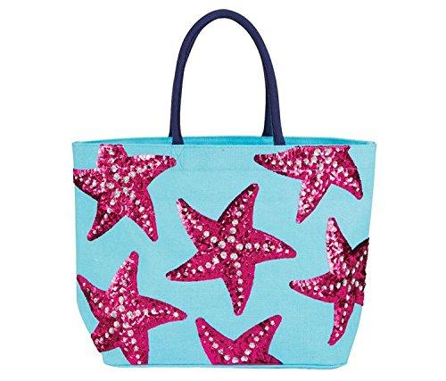 Mozlly Multipack - Mud Pie Blue Starfish Sequin Jute Tote Bag - 14.5 x 22 inch - Sequin Artwork - Webbing Handles - Wipe Clean Interior - Inner Pocket - Fashion Accessories (Pack of 3)