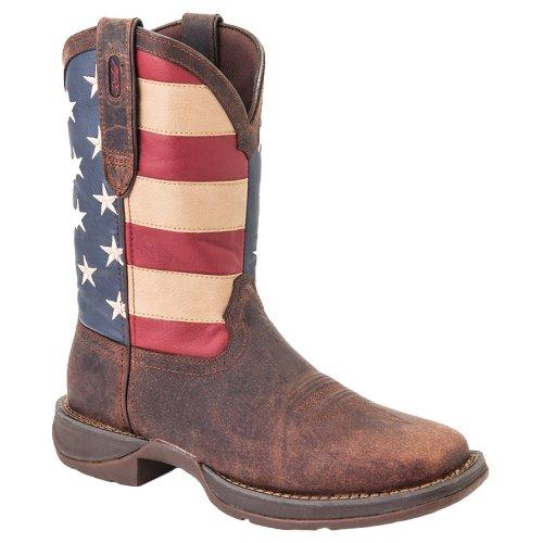 Durango Men's DB020 Western Boot, Dark Brown/Union Flag, 10 M US (Leather Rebel Flag Mens)