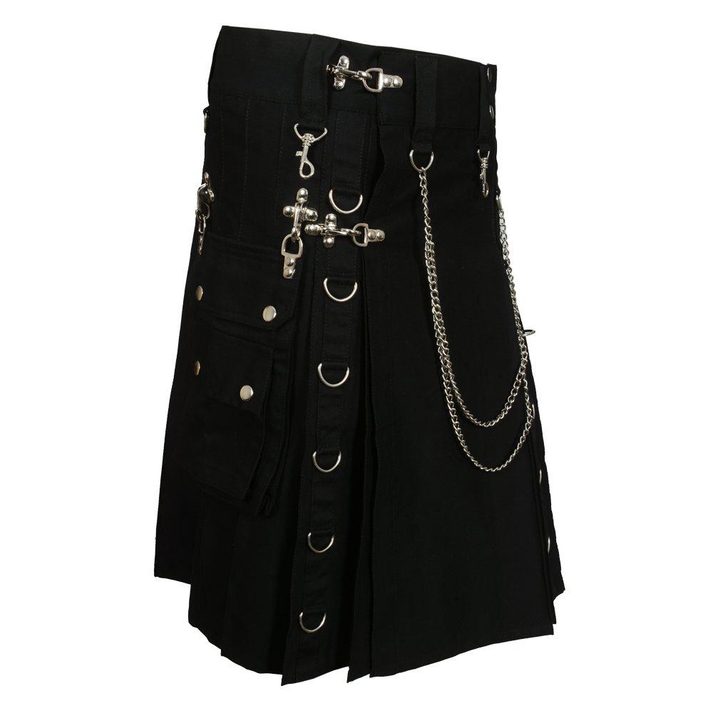 Black Fashion Gothic Kilt With Silver Chains Black Fashion DP