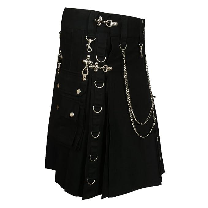 Men's Steampunk Pants & Trousers Black Fashion Gothic Kilt With Silver Chains $79.99 AT vintagedancer.com