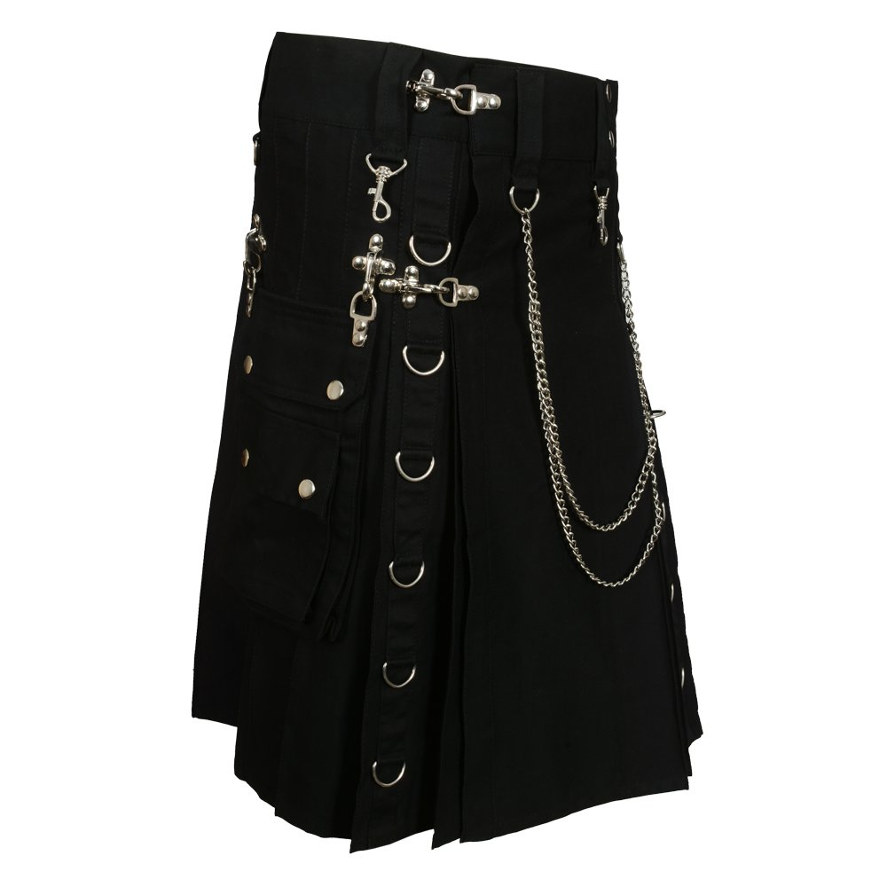 Black Fashion Gothic Kilt With Silver Chains (Belly Button 36)