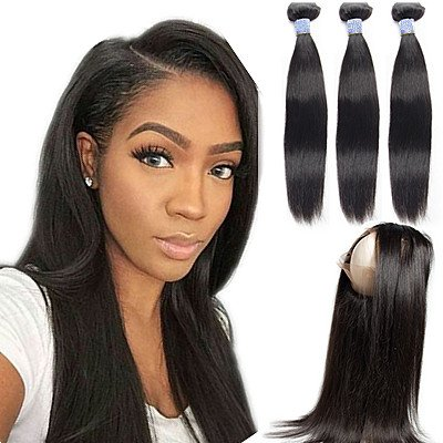 Superwigy-Free-Part-360-Lace-Frontal-Closure-with-3-Bundles-Human-Hair-100-Brazilian-Virgin-Straight-Nature-Black-Hair