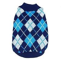 PanDaDa Small Pet Dog Plaid Style Sweater Knitwear Coat Apparel Dark Blue XS