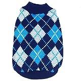 PanDaDa Small Pet Dog Plaid Style Sweater Knitwear Coat Apparel Dark Blue Medium