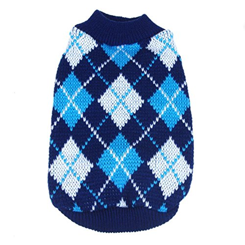 PanDaDa Small Pet Dog Plaid Style Sweater Knitwear Coat Apparel Dark Blue...