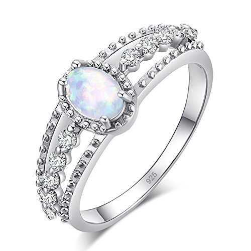 CiNily Created White Fire Opal Zircon Rhodium Plated for Women Jewelry Gemstone Ring Size 5-10 (9) ()