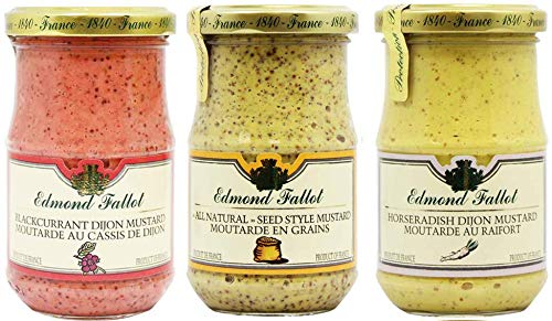 Edmond Fallot Mustard 3 Pack Assortment of Three Popular Flavors, Blackcurrant, All Natural Seed Style and Horseradish (7 Ounce Bottle of Each)