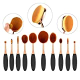 NESTLING 2016 Newest 10PCs Makeup Brush Set Soft Oval Toothbrush Foundation Eyeliner Blush Contour Brushes for Powder Cream Concealer Cosmetic Brush Set Rose Gold