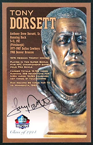 (PRO FOOTBALL HALL OF FAME Tony Dorsett Dallas Cowboys Signed Bronze Bust Set Autographed Card with COA (Limited Edition #41 of 150))