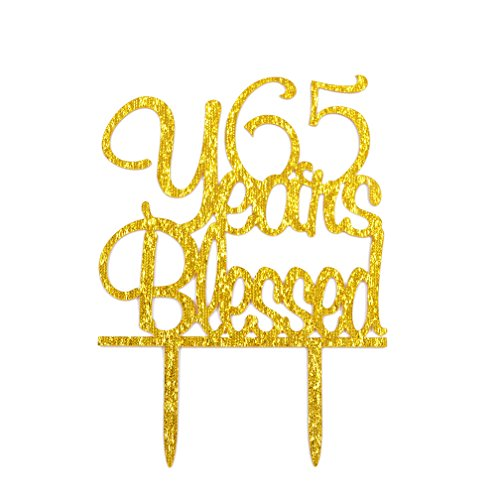 Firefairy(TM) 65 Years Blessed Acrylic Cake Topper 65th Birthday Anniversary Party Decoration Supplies(Gold) by Firefairy