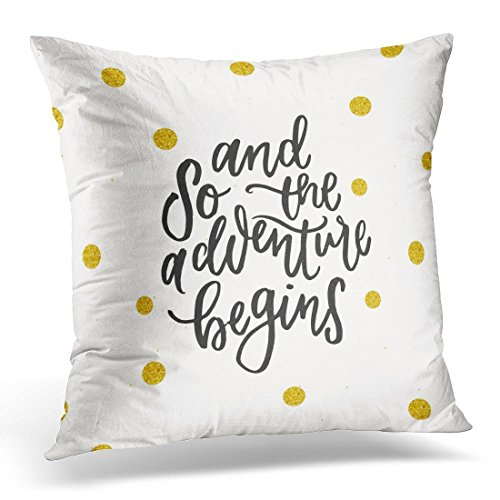SPXUBZ Farewell Trendy Hand Lettering Calligraphy and So the Adventure Begins Quote Calligraphic Decorative Home Decor Square Indoor/Outdoor Pillowcase Size: 16x16 Inch(Two Sides) (Farewell Arrangement)