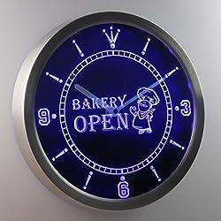 nc0281-b Bakery OPEN Shop Bread Neon Sign LED Wall Clock