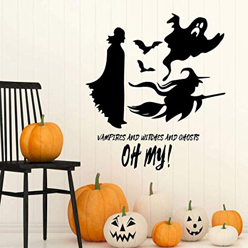 Dozili Halloween Vinyl Silhouette Decor Decorative Ghosts Witch Quote: Witches and Vampires and Ghost OH My! Spooky Decorations for 24