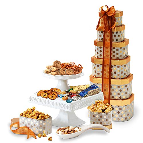 - Broadway Basketeers Gourmet Gift Tower with an Assortment of Snacks, Sweets, Cookies and Nuts