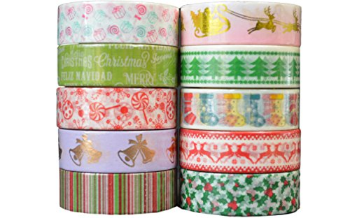 Crafty Rolls Decorative Washi Tape Set of 10 Rolls Assortment of Christmas Holiday Designs & Shapes for Scrapbooking Crafts & Gifts - Xmas (Christmas Tape)