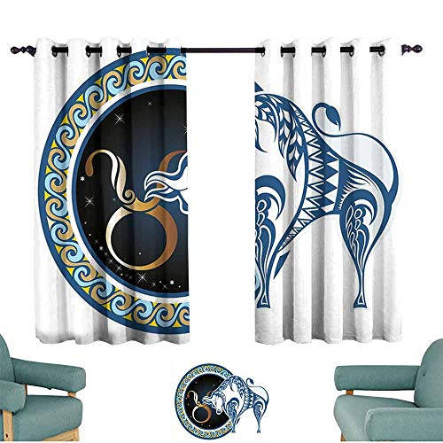 HCCJLCKS Room Darkening Wide Curtains Taurus Zodiac Bull with Celestial Spiritual Universe Symbolic Character Graphic Children's Bedroom Curtain W55 xL45 Night Blue Gold - Celestial Screen Fireplace