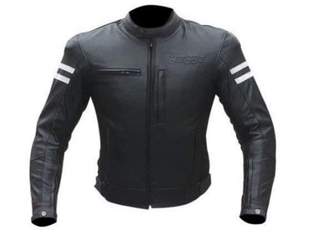 homme BIESSE avec protections CE M noir//blanc Blouson moto en cuir vintage caf/é race